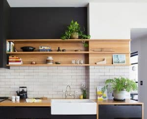 Integrated wooden open shelving