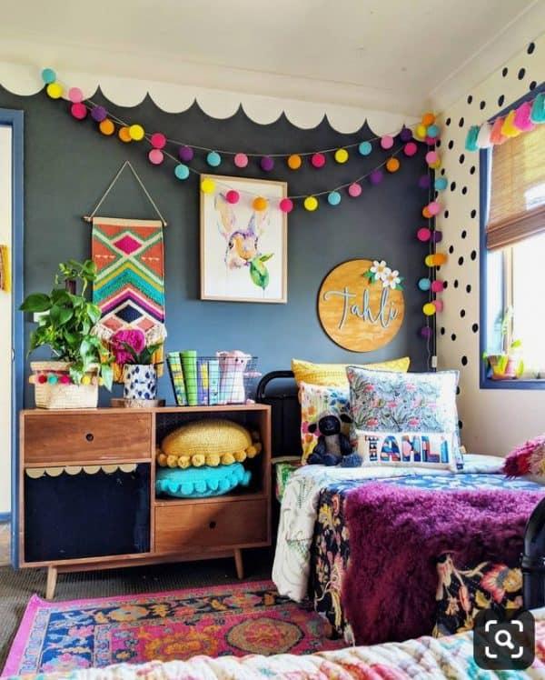 Kids Bedroom with Colourful Pom Pom Decor