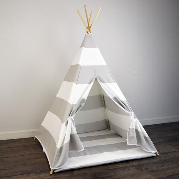 Kids Striped Playhouse Teepee Tent