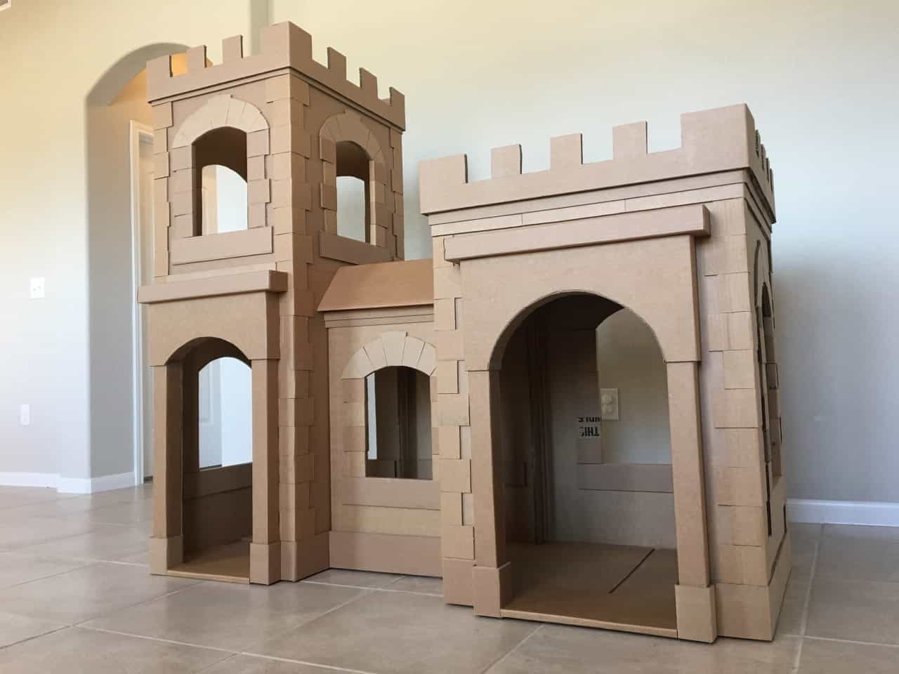 Cardboard Castle For Playhouse