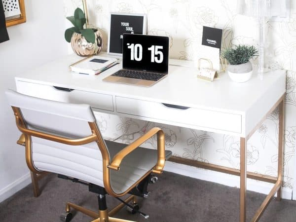 White and Gold Desk Ikea Hack