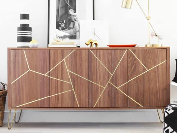 Mid-Century Gold Inlaid Sideboard Ikea Hack