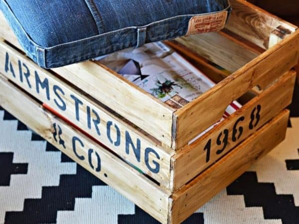 Rustic Branded Crate Ottoman
