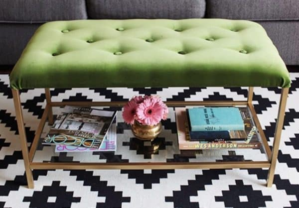 Grean and Gold Ottoman Ikea Hack
