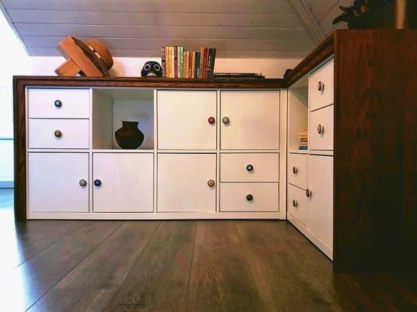 Wood SUrround Corner Storage Ikea Hack