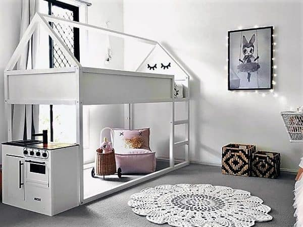 White A-Frame Bunk Bed Ikea Hack