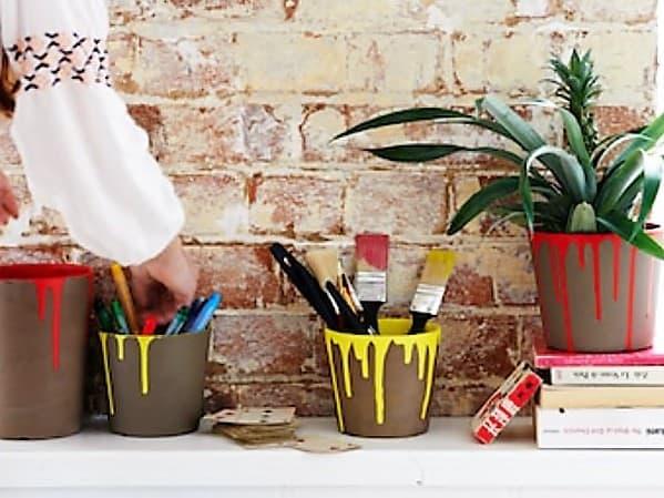 Drip Painted Plant Pots