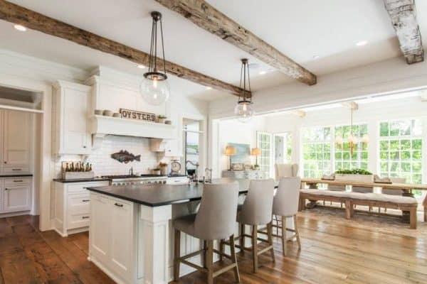 Modern Farmhouse Kitchen Wood Beams