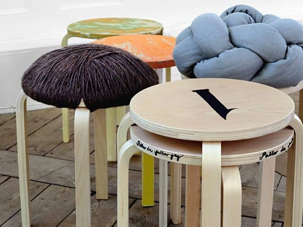Painted and Upholstered Stools Ikea Hack