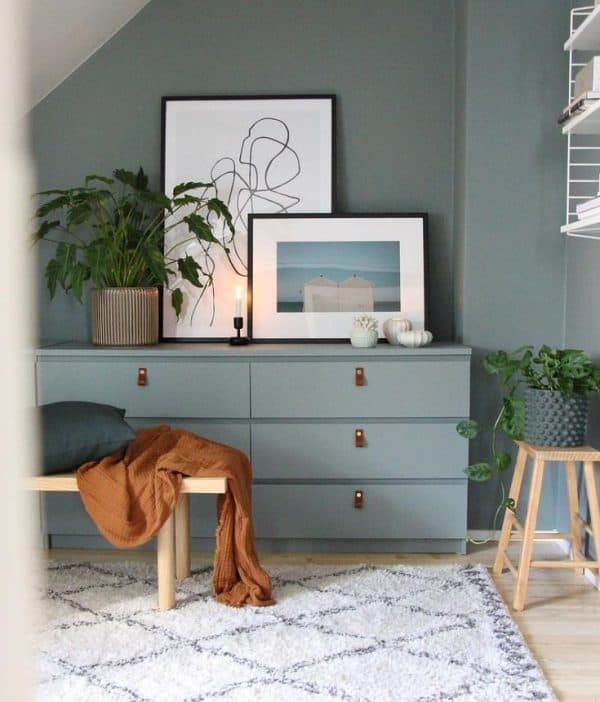 Ikea Malm Gray and Leather Dresser Hack