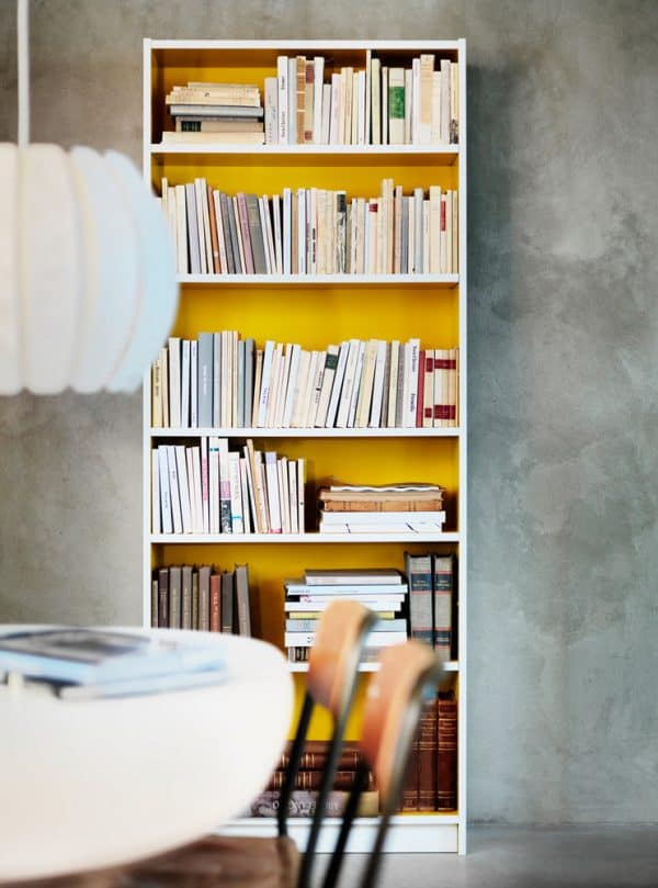 Ikea Billy Bookcase Yellow Interior Hack