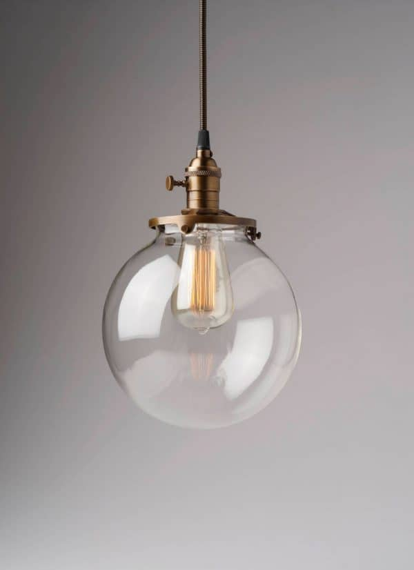 Clear Glass Globe Kitchen Pendant Light