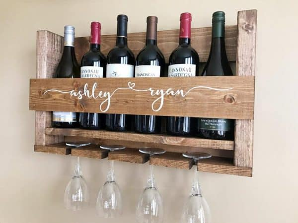 Rustic Wood Wine Rack Kitchen Shelf