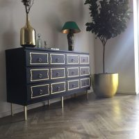 Black and Gold Ikea Malm Dresser Hack